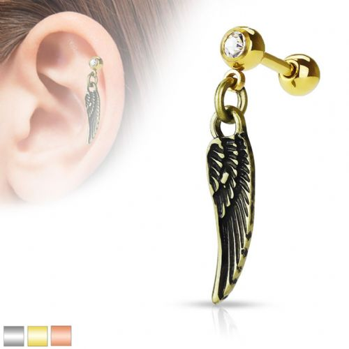 Dangle Angel Wing Cartilage Bar with Gem Top